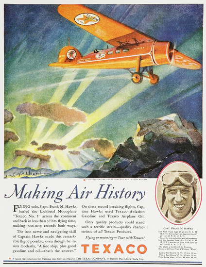 Texaco Making Air History 1920s   Vintage Ad and Cover Art 1891-1970