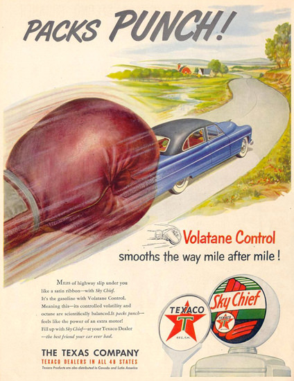 Texaco Packs Punch Volatane Control 1951 | Vintage Ad and Cover Art 1891-1970