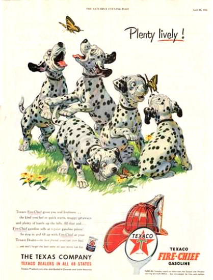Texaco Plenty Lively 1953 Dalmatian Puppies | Vintage Ad and Cover Art 1891-1970