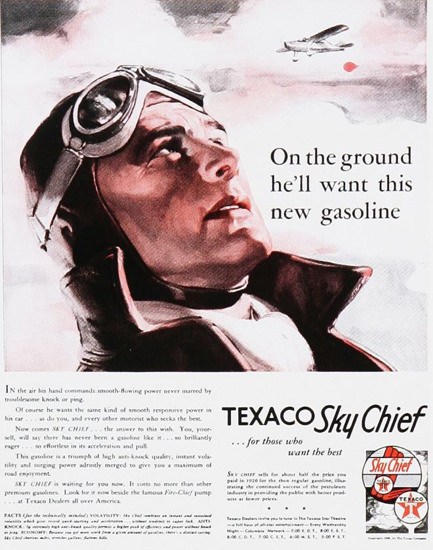 Texaco Sky Chief Pilot Airplane 1930s | Vintage Ad and Cover Art 1891-1970