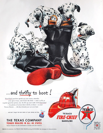 Texaco Thrifty To Boot 1952 Dalmatian Puppies | Vintage Ad and Cover Art 1891-1970