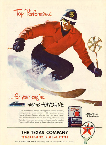 Texaco Top Performance Skiing 1947 | Vintage Ad and Cover Art 1891-1970