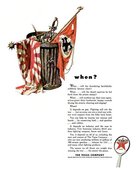 Texaco When Will Battlefields Become Silent | Vintage War Propaganda Posters 1891-1970