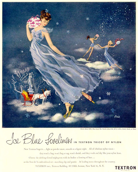 Textron Blue Loveliness Tricot Of Nilon 1948 | Sex Appeal Vintage Ads and Covers 1891-1970