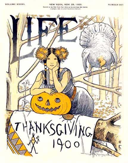 Thanksgiving Life Humor Magazine 1900-11-29 Copyright | Life Magazine Graphic Art Covers 1891-1936