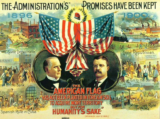 The American Flag 1900 Promises Kept McKinley | Vintage Ad and Cover Art 1891-1970