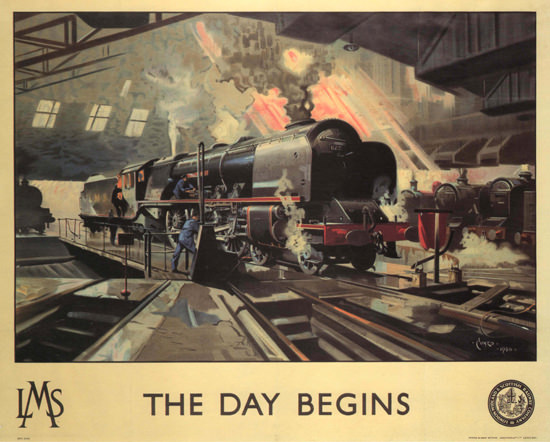 The Day Begins LMS United Kingdom | Vintage Travel Posters 1891-1970