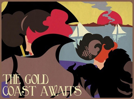 The Gold Coast Awaits Sunset | Vintage Travel Posters 1891-1970