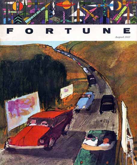 The Highway Fortune Magazine August 1957 Copyright | Fortune Magazine Graphic Art Covers 1930-1959