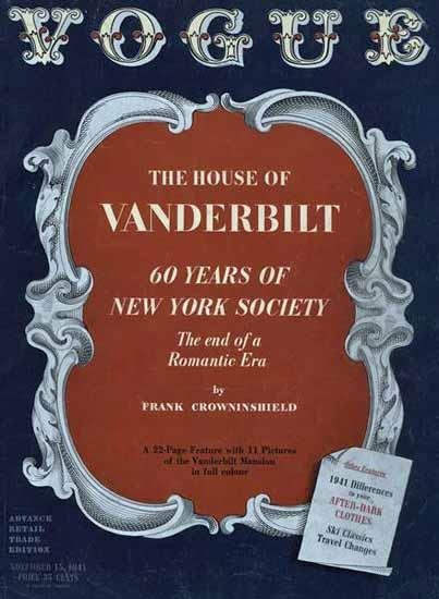 The House of Vanderbilt Vogue Magazine 1941-11-15 Copyright   Vogue Magazine Graphic Art Covers 1902-1958