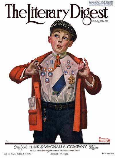 The Literary Digest Boy Showing Badges 1918 Norman Rockwell | 400 Norman Rockwell Magazine Covers 1913-1963