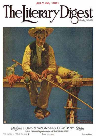The Literary Digest Man on Dock Fishing 1921 Norman Rockwell | 400 Norman Rockwell Magazine Covers 1913-1963