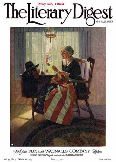 The Literary Digest Mending the Flag 1922 Norman Rockwell | 400 Norman Rockwell Magazine Covers 1913-1963