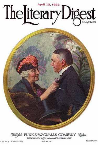 The Literary Digest Pinning Boutonniere 1922 Norman Rockwell | 400 Norman Rockwell Magazine Covers 1913-1963