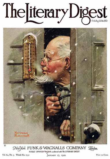 The Literary Digest Reading Thermometer 1920 Norman Rockwell | 400 Norman Rockwell Magazine Covers 1913-1963