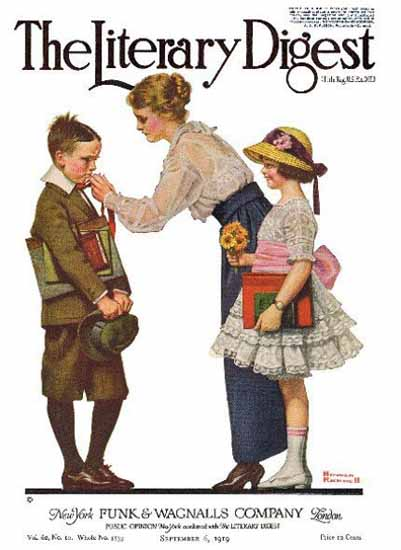The Literary Digest Sending Children 1919 Norman Rockwell | 400 Norman Rockwell Magazine Covers 1913-1963