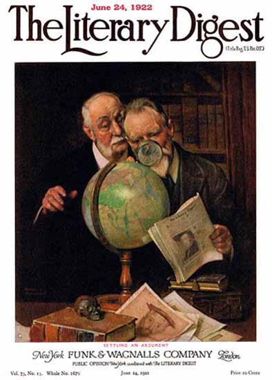 The Literary Digest Settling an Argument 1922 Norman Rockwell | 400 Norman Rockwell Magazine Covers 1913-1963