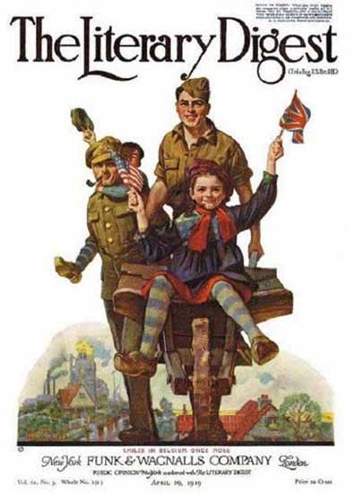 The Literary Digest Smiles in Belgium 1919 Norman Rockwell | 400 Norman Rockwell Magazine Covers 1913-1963