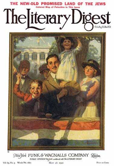 The Literary Digest Spectators at a Parade 1921 Norman Rockwell | 400 Norman Rockwell Magazine Covers 1913-1963