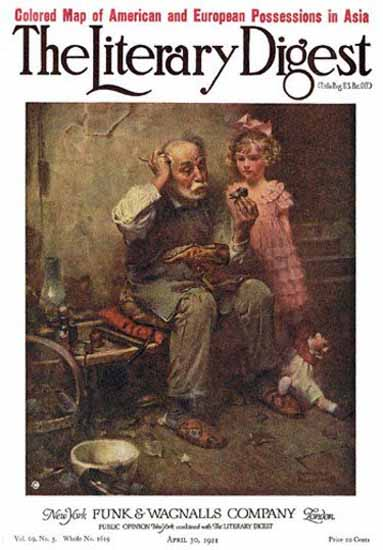 The Literary Digest Studying Dolls Shoe 1921 Norman Rockwell | 400 Norman Rockwell Magazine Covers 1913-1963