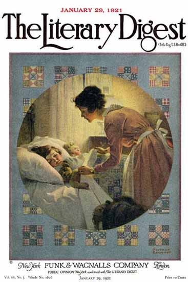 The Literary Digest Taking Children in Bed 1921 Norman Rockwell | 400 Norman Rockwell Magazine Covers 1913-1963
