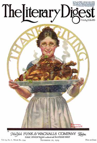 The Literary Digest Thanksgiving 1919 Norman Rockwell | 400 Norman Rockwell Magazine Covers 1913-1963