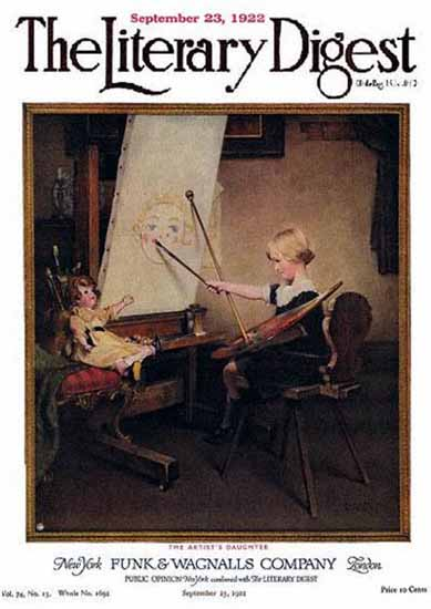 The Literary Digest The Artists Daughter 1922 Norman Rockwell | 400 Norman Rockwell Magazine Covers 1913-1963