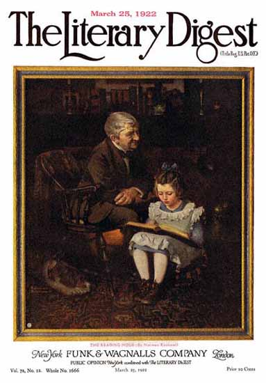 The Literary Digest The Reading Hour 1922 Norman Rockwell | 400 Norman Rockwell Magazine Covers 1913-1963