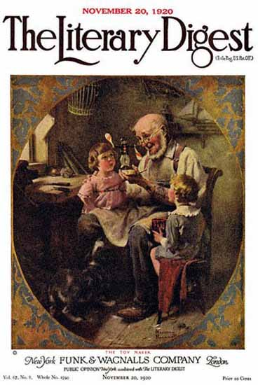 The Literary Digest The Toy Maker 1920 Norman Rockwell | 400 Norman Rockwell Magazine Covers 1913-1963