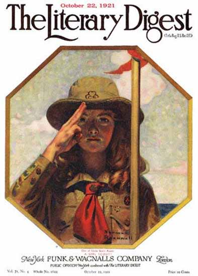 The Literary Digest Uncle Sams Girl Scout 1921 Norman Rockwell | 400 Norman Rockwell Magazine Covers 1913-1963