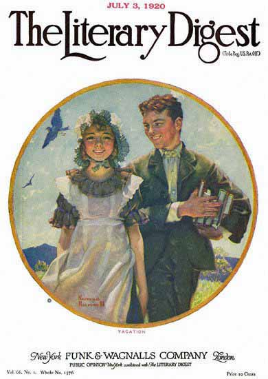 The Literary Digest Vacation 1920 Norman Rockwell | 400 Norman Rockwell Magazine Covers 1913-1963