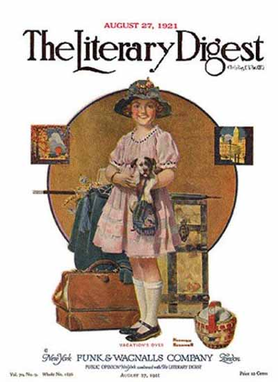 The Literary Digest Vacation is Over 1921 Norman Rockwell | 400 Norman Rockwell Magazine Covers 1913-1963