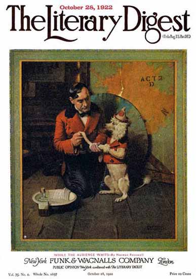 The Literary Digest While Audience Waits 1922 Norman Rockwell   400 Norman Rockwell Magazine Covers 1913-1963