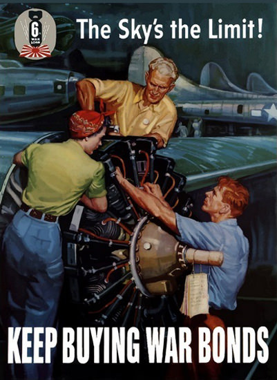 The Sky Is The Limit Airplane Factory War Japan | Vintage War Propaganda Posters 1891-1970