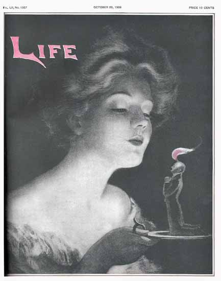 The Spirit of Flame Life Humor Magazine 1908-10-29 Copyright | Life Magazine Graphic Art Covers 1891-1936