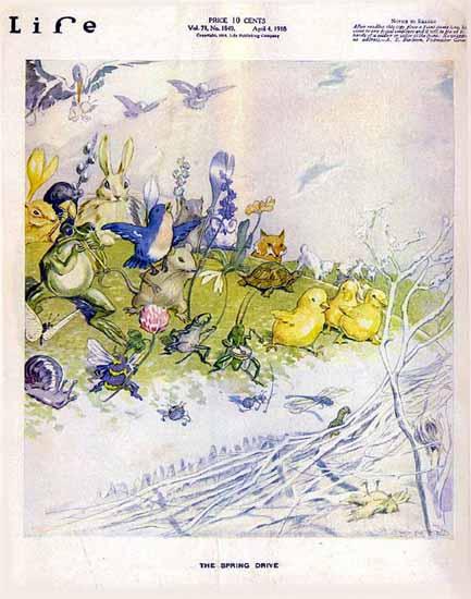 The Spring Drive Life Humor Magazine 1918-04-04 Copyright | Life Magazine Graphic Art Covers 1891-1936