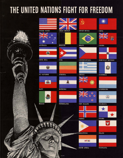 The United Nations Fight For Freedom Libety | Vintage War Propaganda Posters 1891-1970