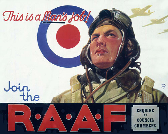 This Is A Mans Job Join The RAAF | Vintage War Propaganda Posters 1891-1970