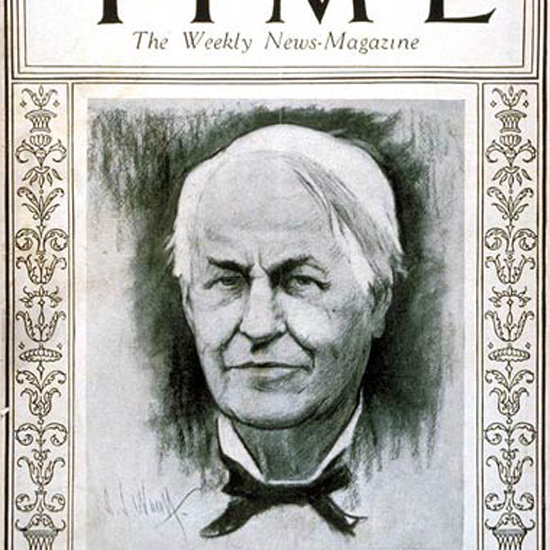Thomas A Edison Time Magazine 1925-05 crop | Best of Vintage Cover Art 1900-1970