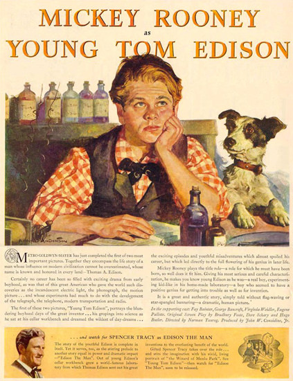 Thomas Edison The Man Spencer Tracy 1940 | Vintage Ad and Cover Art 1891-1970