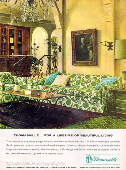 Thomasville Couch 1965 | Vintage Ad and Cover Art 1891-1970