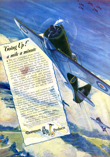 Thompson Products Goin Up A MIle A Minute | Vintage War Propaganda Posters 1891-1970