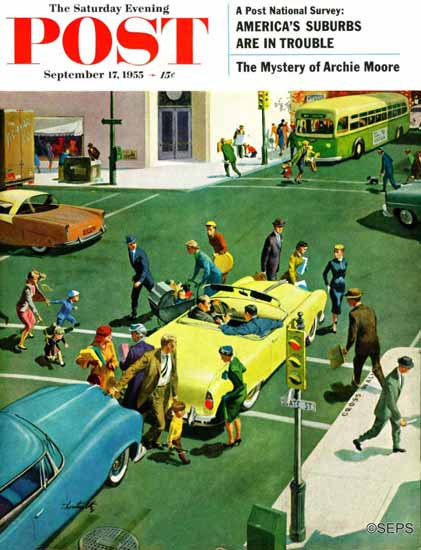 Thornton Utz Saturday Evening Post Blocking the Crosswalk 1955_09_17 | The Saturday Evening Post Graphic Art Covers 1931-1969
