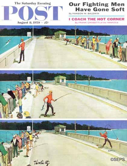 Thornton Utz Saturday Evening Post Bridge Fishing 1959_08_08 | The Saturday Evening Post Graphic Art Covers 1931-1969