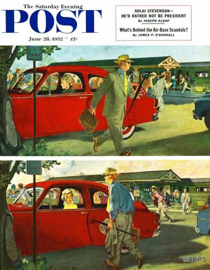 Thornton Utz Saturday Evening Post Coming and Going Work 1952_06_28 | The Saturday Evening Post Graphic Art Covers 1931-1969