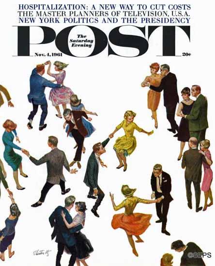 Thornton Utz Saturday Evening Post Different Dancing Styles 1961_11_04 | The Saturday Evening Post Graphic Art Covers 1931-1969