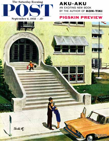Thornton Utz Saturday Evening Post First day of School 1958_09_06 | The Saturday Evening Post Graphic Art Covers 1931-1969