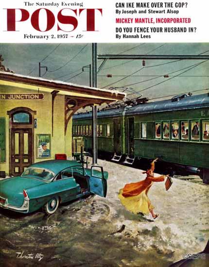 Thornton Utz Saturday Evening Post Forgot His Briefcase 1957_02_02 | The Saturday Evening Post Graphic Art Covers 1931-1969