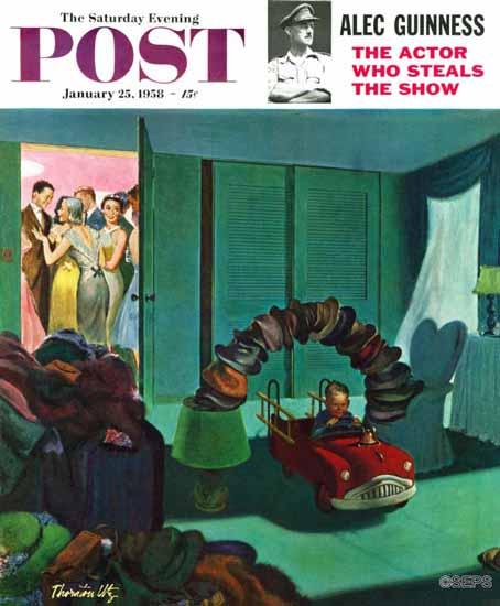 Thornton Utz Saturday Evening Post Hat Bridge 1958_01_25 | The Saturday Evening Post Graphic Art Covers 1931-1969