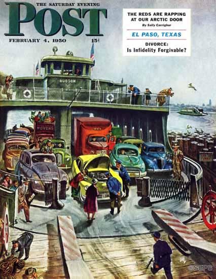 Thornton Utz Saturday Evening Post Hudson Ferry 1950_02_04 | The Saturday Evening Post Graphic Art Covers 1931-1969